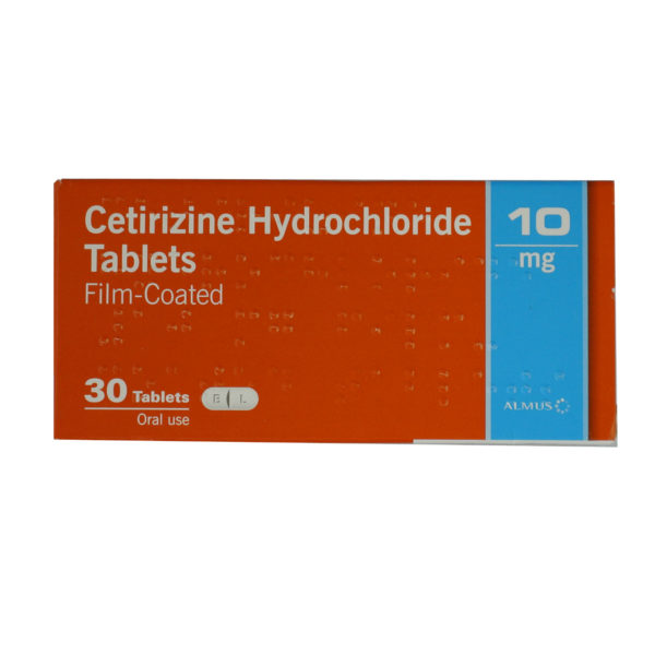 A box of CETIRIZINE tablets.