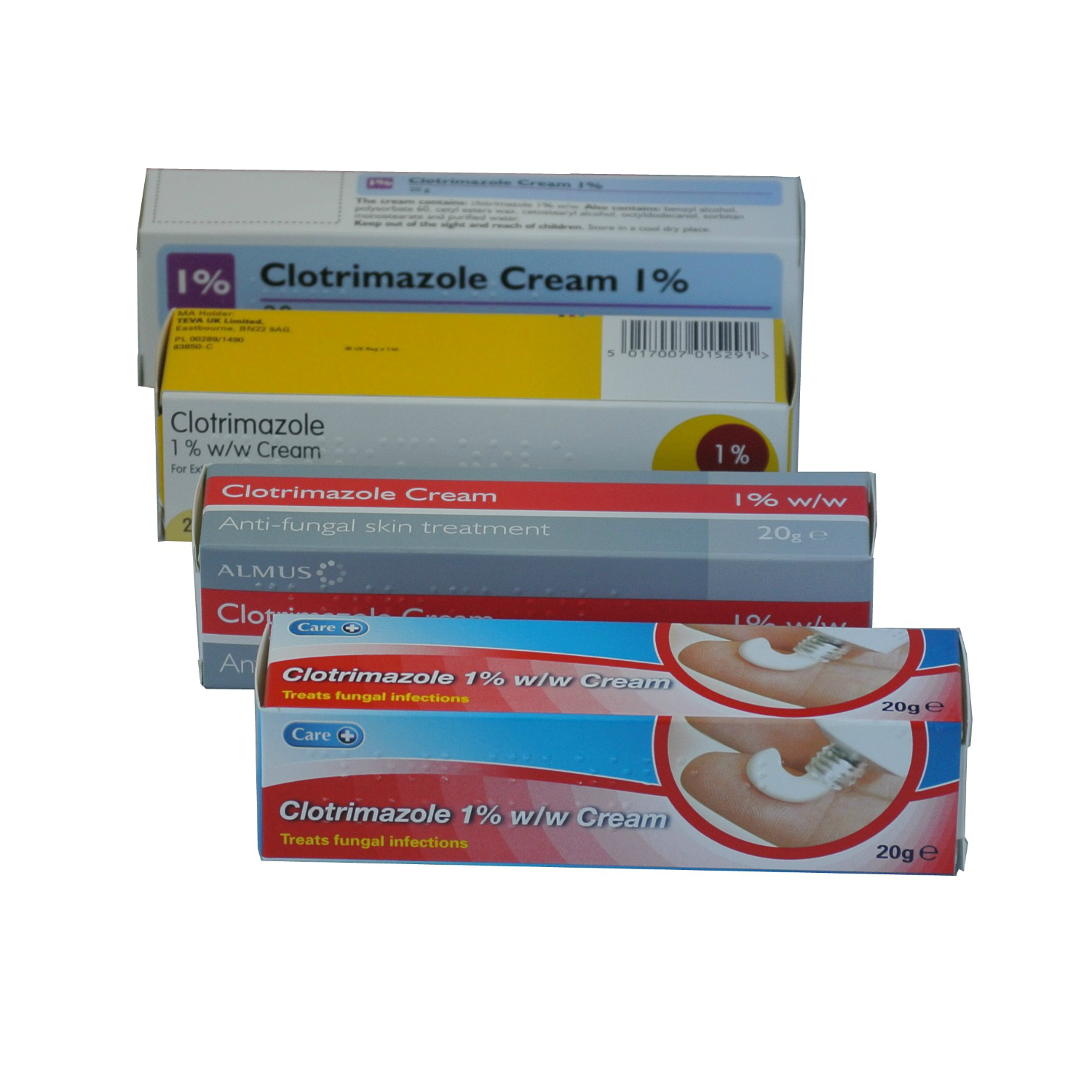 Four boxes of CLOTRIMAZOLE cream.