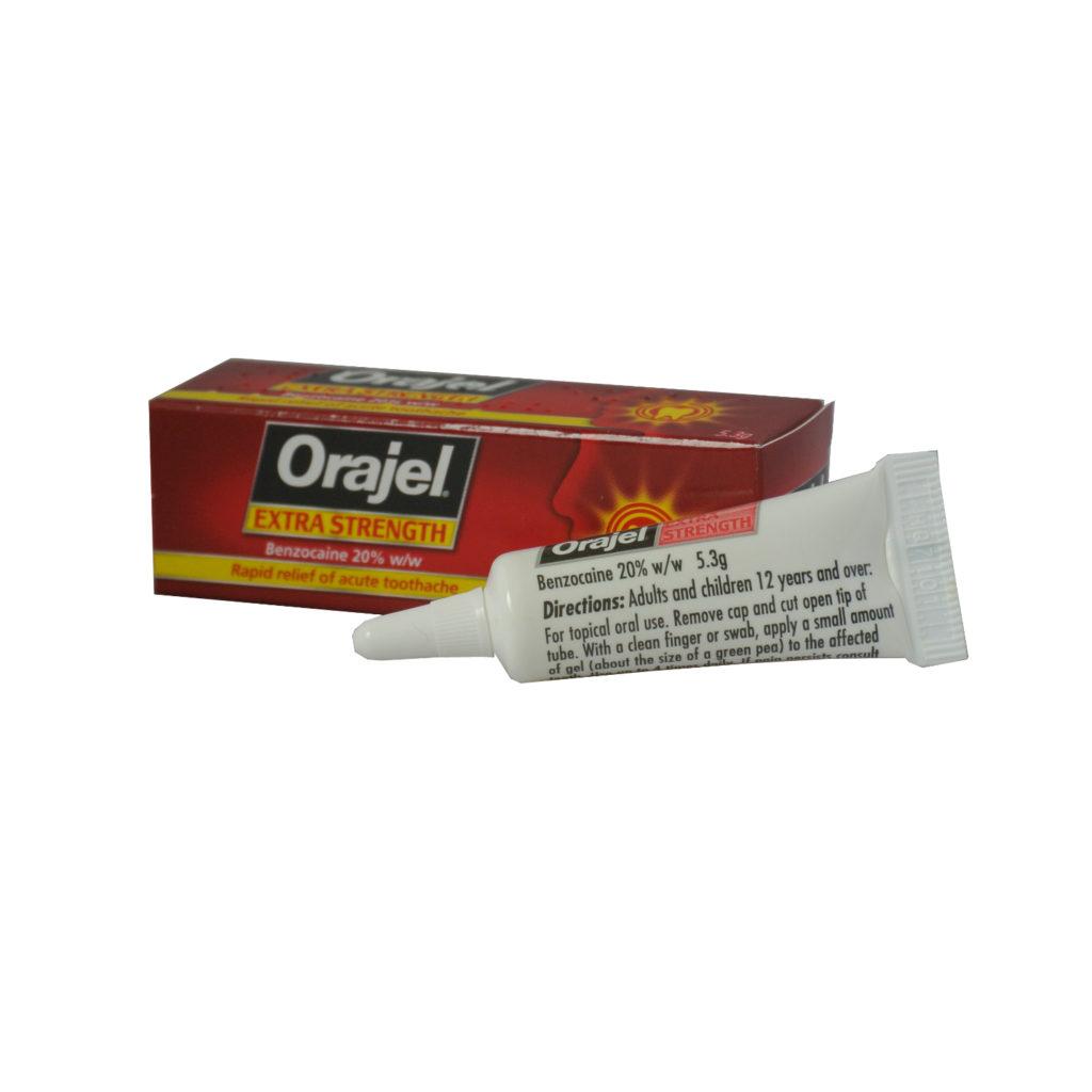 1 x Orajel Extra Strength acute toothache dental gel – 20% w/w Benzocaine 5.3g